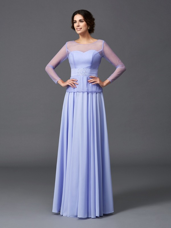 A-Line/Princess Scoop Long Sleeves Ruffles Floor-Length Chiffon Mother of the Groom Dresses