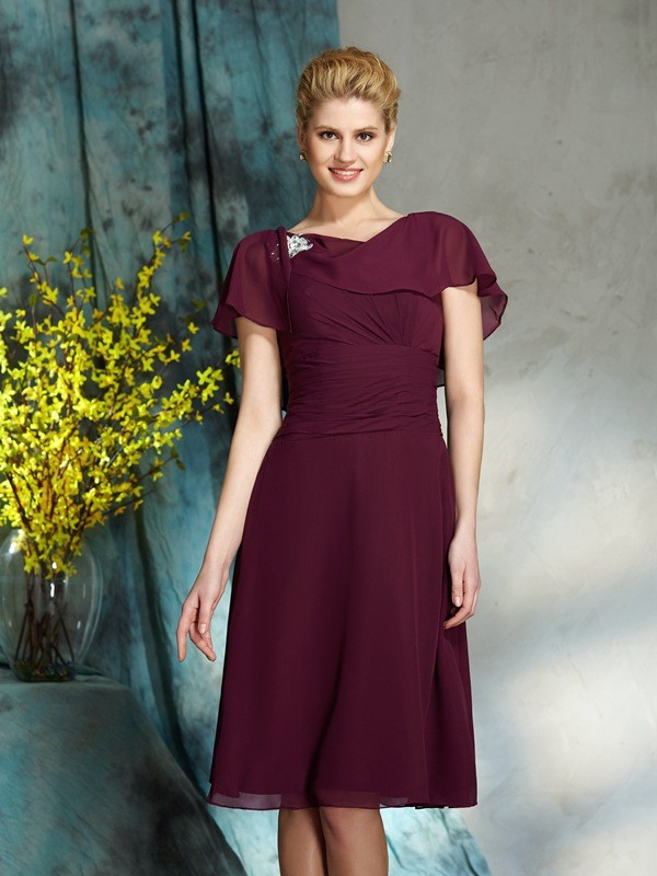 A-Line/Princess Scoop 1/2 Sleeves Chiffon Knee-Length Mother of the Groom Dresses