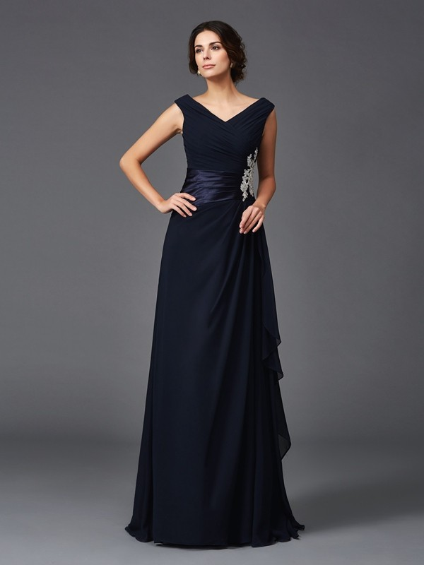 A-Line V-neck Sleeveless Applique Long Chiffon Mother of the Groom Dresses