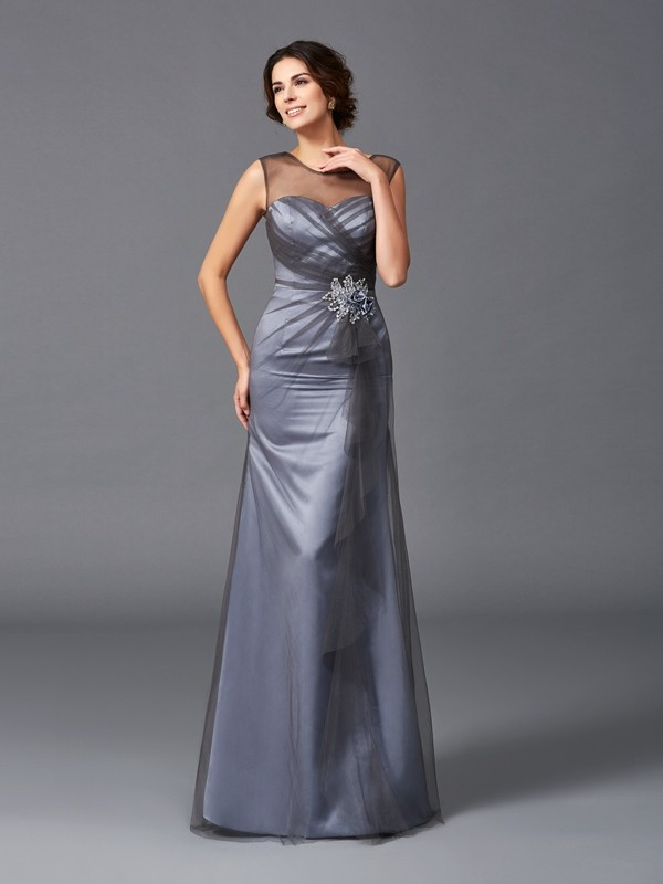 Sheath/Column Beading Sleeveless Scoop Floor-Length Net Mother of the Groom Dresses