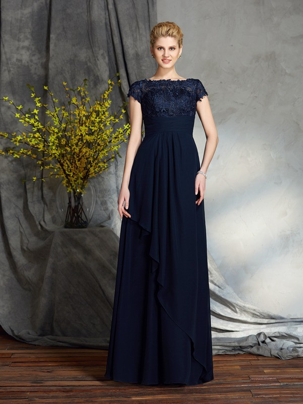 A-Line/Princess Bateau Short Sleeves Floor-Length Applique Chiffon Mother of the Groom Dress
