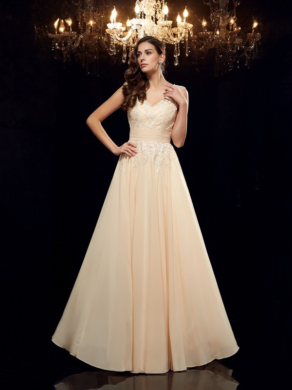 A-Line/Princess Straps Sleeveless Applique Floor-Length Chiffon Mother of the Bride Dresses