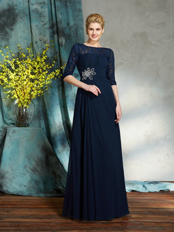 A-Line/Princess Bateau 1/2 Sleeves Beading Floor-Length Chiffon Mother of the Groom Dress