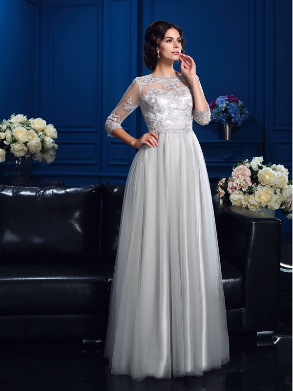 A-Line/Princess Scoop 3/4 Sleeves Floor-Length Elastic Woven Satin Mother Dresses