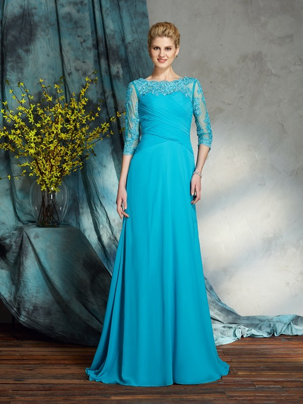 A-Line/Princess Bateau 3/4 Sleeves Applique Chiffon Floor-Length Mother of the Groom Dress