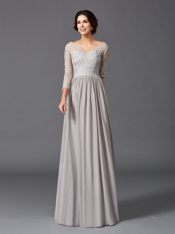 A-Line/Princess V-neck 3/4 Sleeves Ruffles Floor-Length Chiffon Mother of the Groom Dresses
