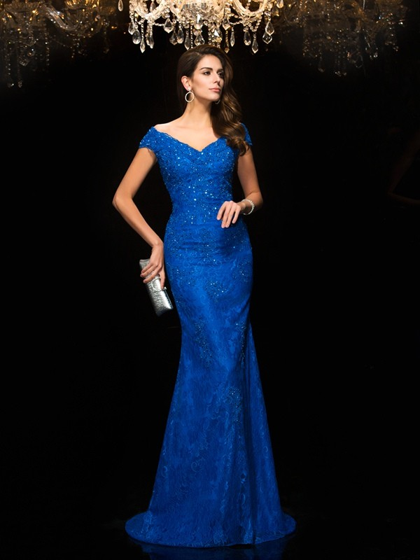 Trumpet/Mermaid V-neck Sleeveless Sweep Lace Mother of the Bride Dresses