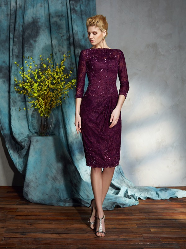 Sheath/Column Bateau 3/4 Sleeves Lace Knee-Length Mother of the Groom Dress