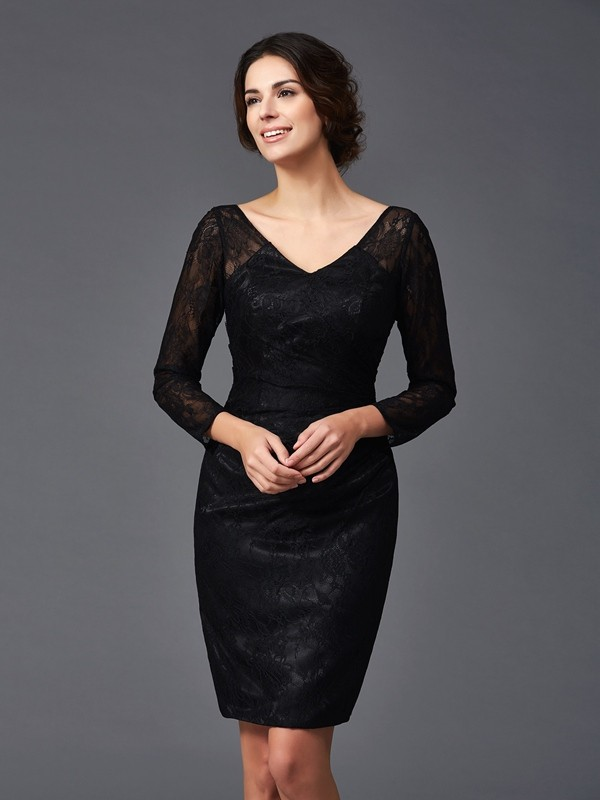 Sheath/Column Lace Long Sleeves V-neck Knee-Length Elastic Woven Satin Mother of the Groom Dresses