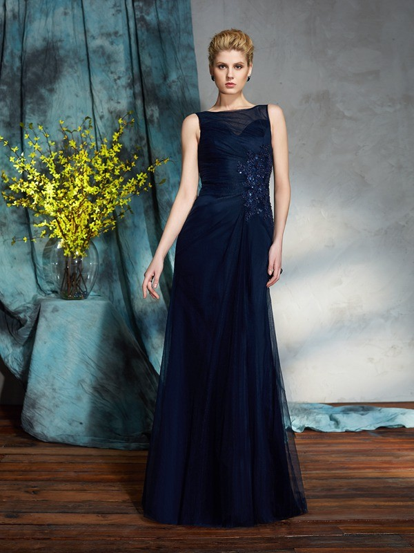 Column Bateau Sleeveless Floor-Length Net Mother of the Bride Dresses