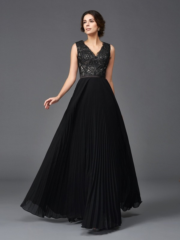 A-Line/Princess V-neck Sleeveless Lace Floor-Length Chiffon Mother of the Groom Dresses
