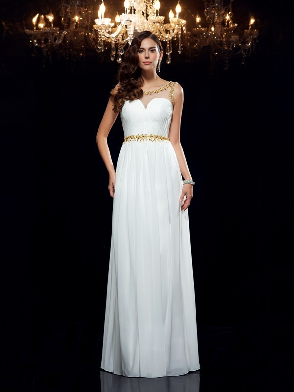 A-Line Sleeveless Sheer Neck Beading Chiffon Floor-Length Dresses