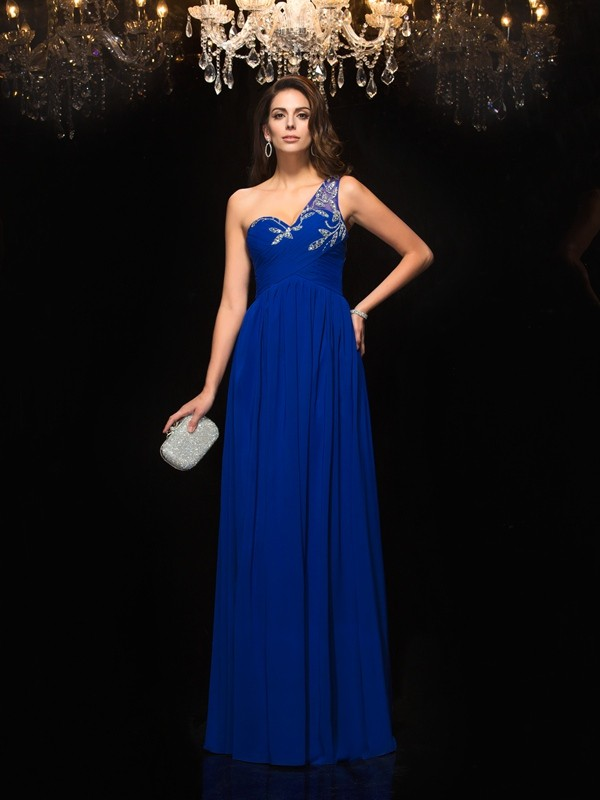 A-Line Beading Sleeveless Floor-Length Chiffon Dresses