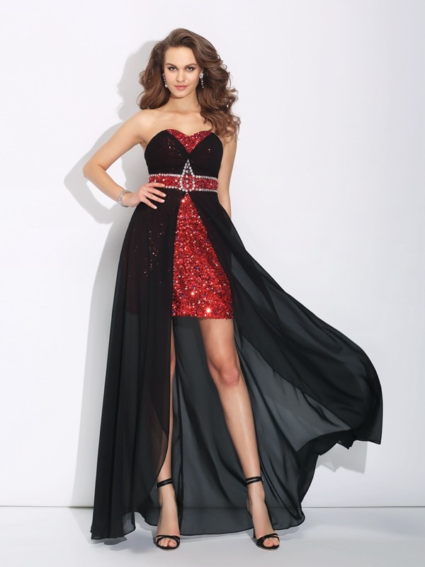 A-Line/Princess Sweetheart Sequin Asymmetrical Chiffon Dresses