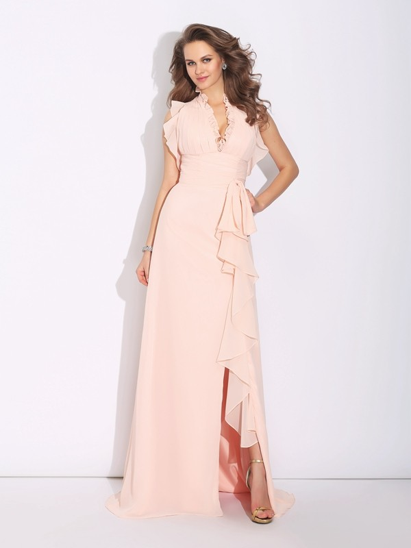 A-Line/Princess High Neck Sleeveless Sweep/Brush Train Chiffon Dresses