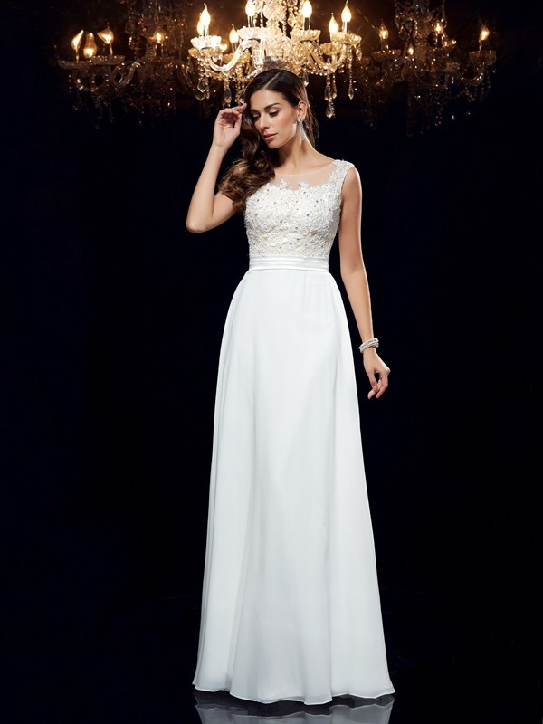 Princess Scoop Sleeveless Chiffon Applique Floor-Length Dresses