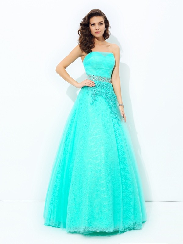 A-Line/Princess Strapless Sleeveless Beading Elastic Woven Satin Floor-Length Dress