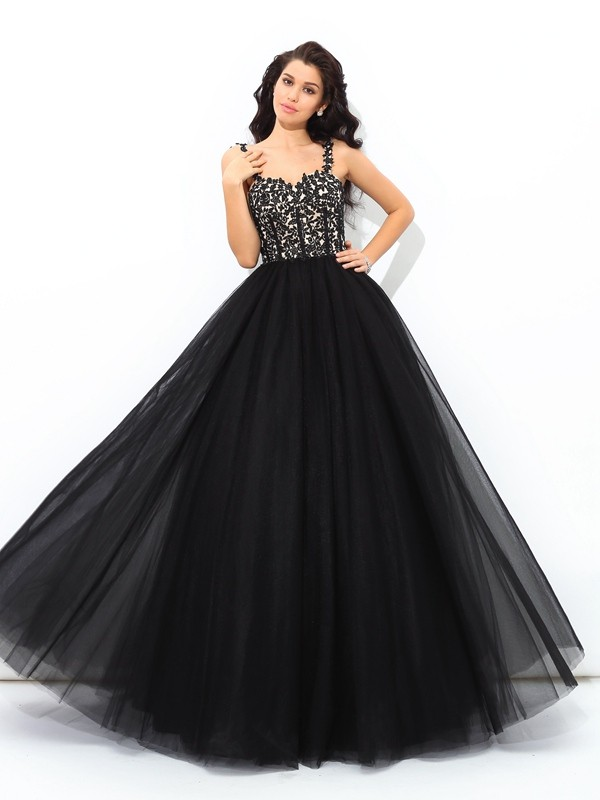 Ball Gown Straps Sleeveless Applique Floor-Length Net Quinceanera Dress