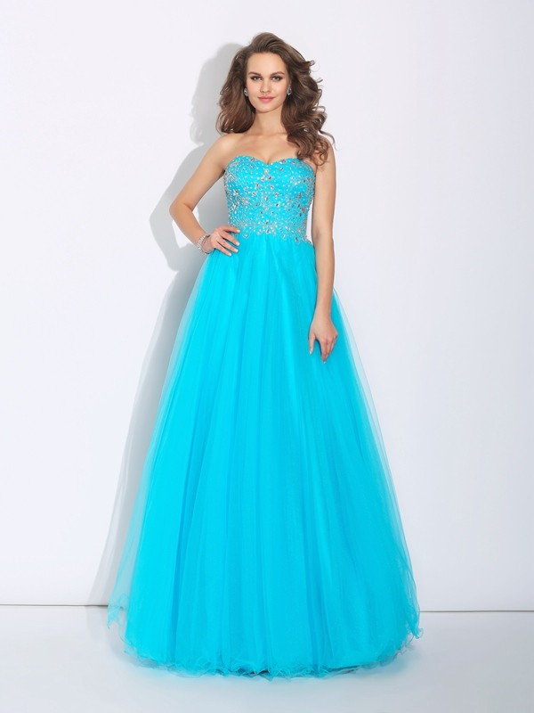 A-Line/Princess Sweetheart Sleeveless Floor-Length Satin Dresses