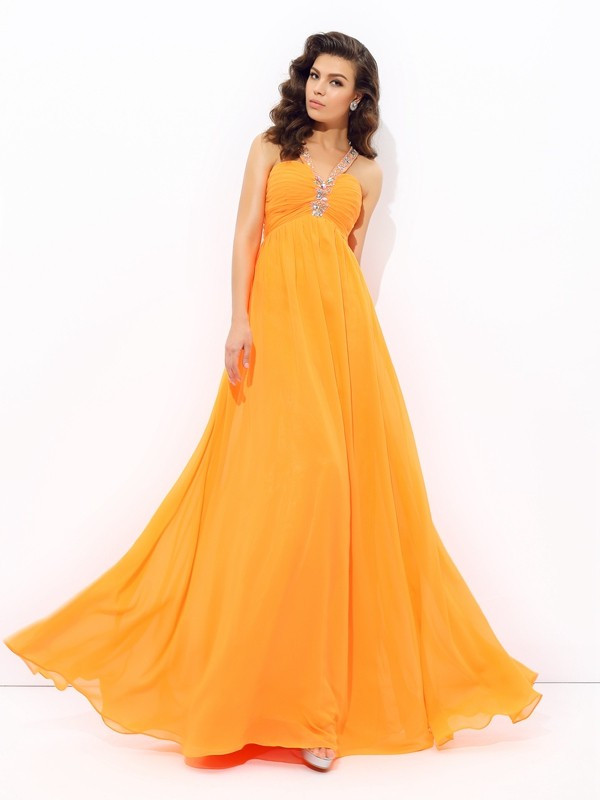 A-Line/Princess V-neck Sleeveless Rhinestone Floor-Length Chiffon Dress