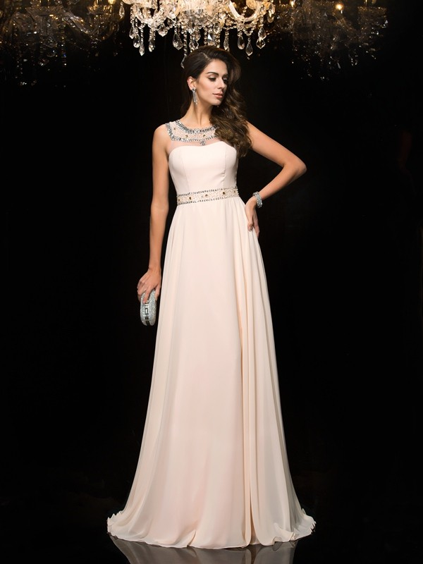 Princess Scoop Beading Chiffon Floor-Length Dresses