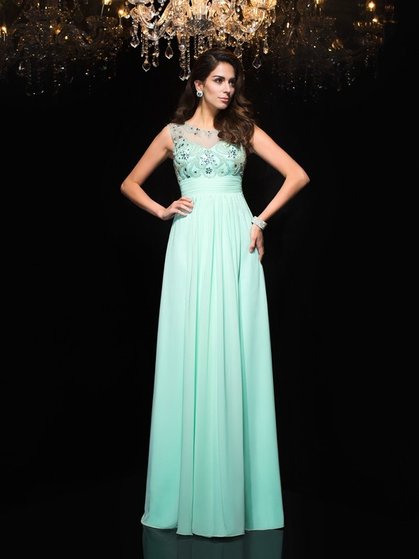 A-Line/Princess Sheer Neck Beading Chiffon Floor-Length Dresses