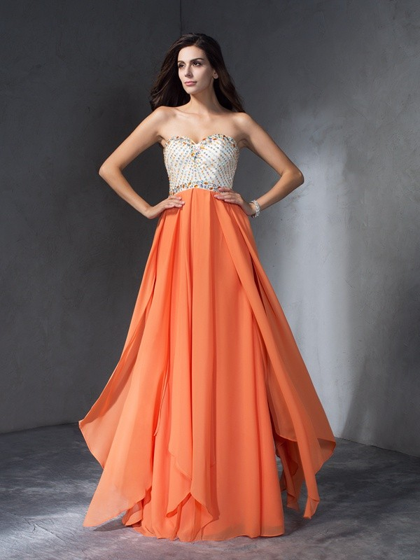 A-Line Sleeveless Beading Chiffon Floor-Length Dress