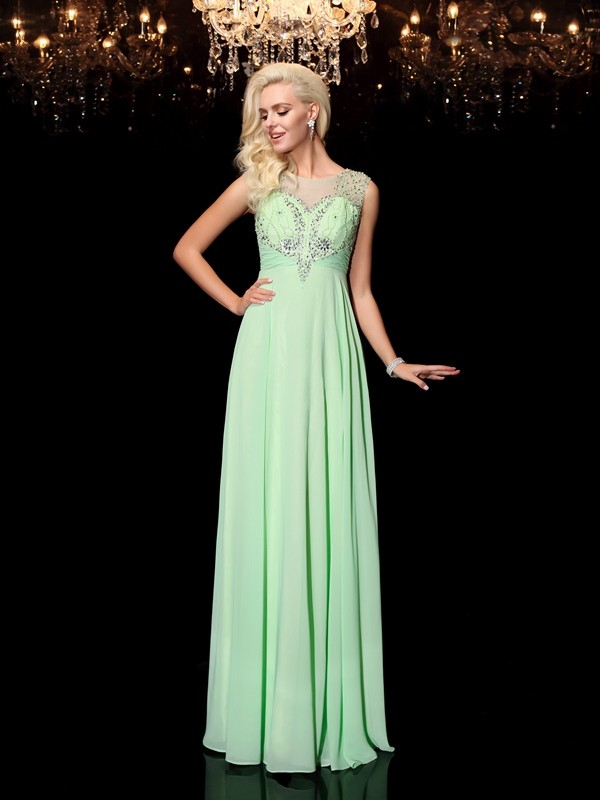 A-line/Princess Floor-Length Scoop Beading Chiffon Dresses