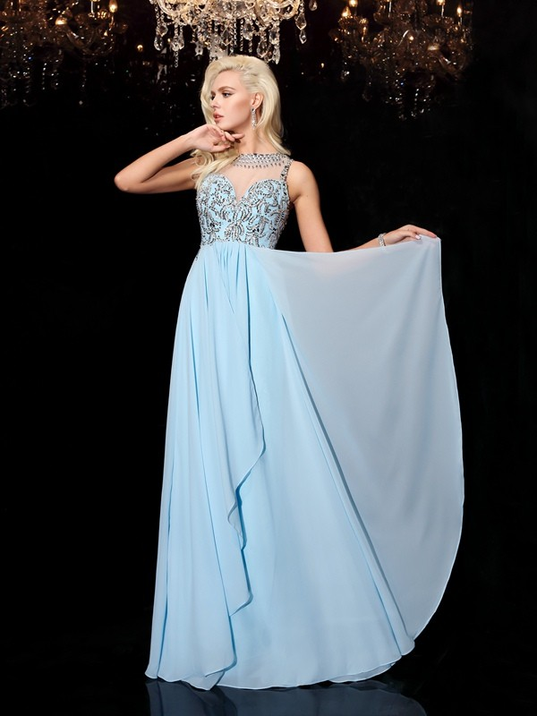 Princess Scoop Floor-Length Chiffon Dresses