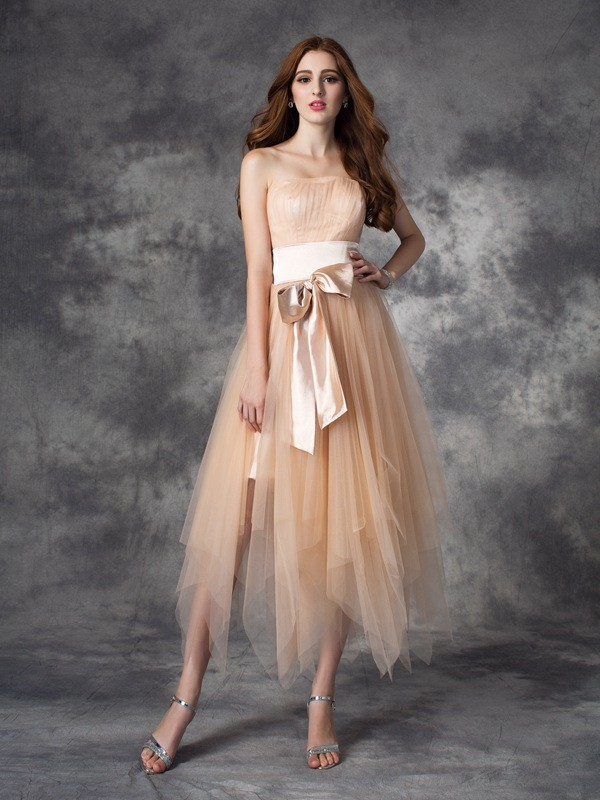A-line/Princess Strapless Sleeveless Ankle-Length Elastic Woven Satin Dresses
