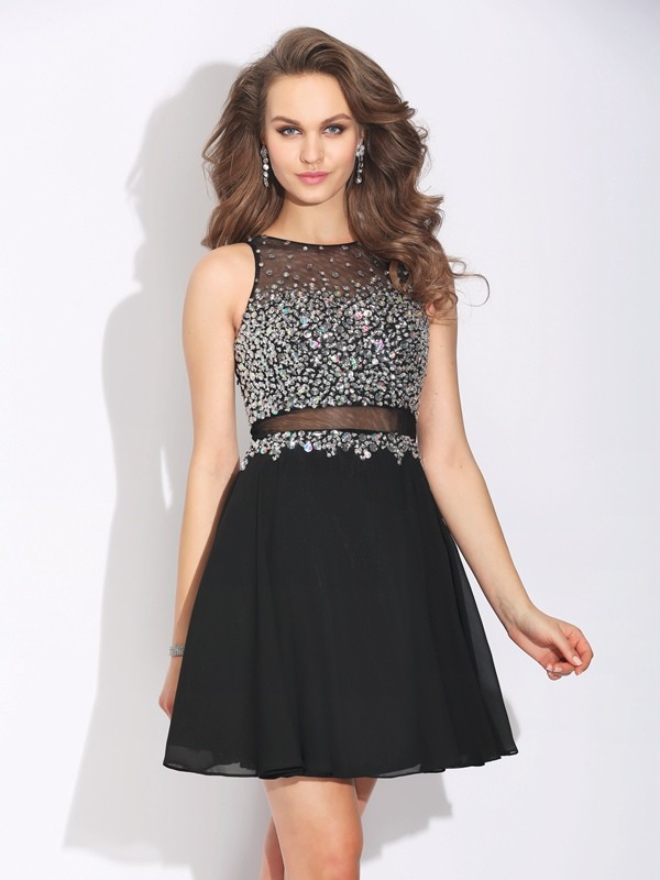 A-Line/Princess Sleeveless Jewel Short/Mini Chiffon Dresses