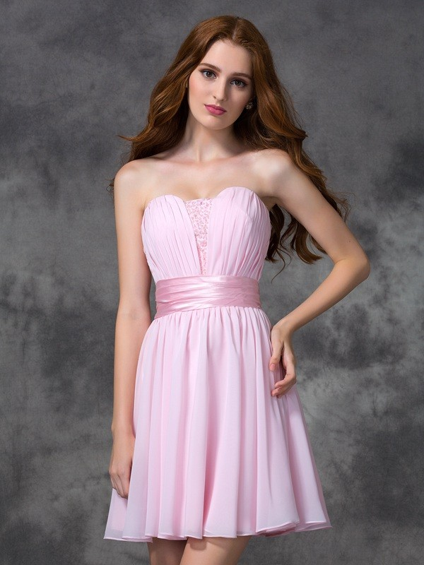 A-line/Princess Sweetheart Ruched Short/Mini Chiffon Dresses