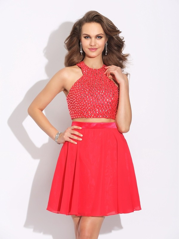 A-Line/Princess Jewel Crystal Short/Mini Two Piece Chiffon Dresses
