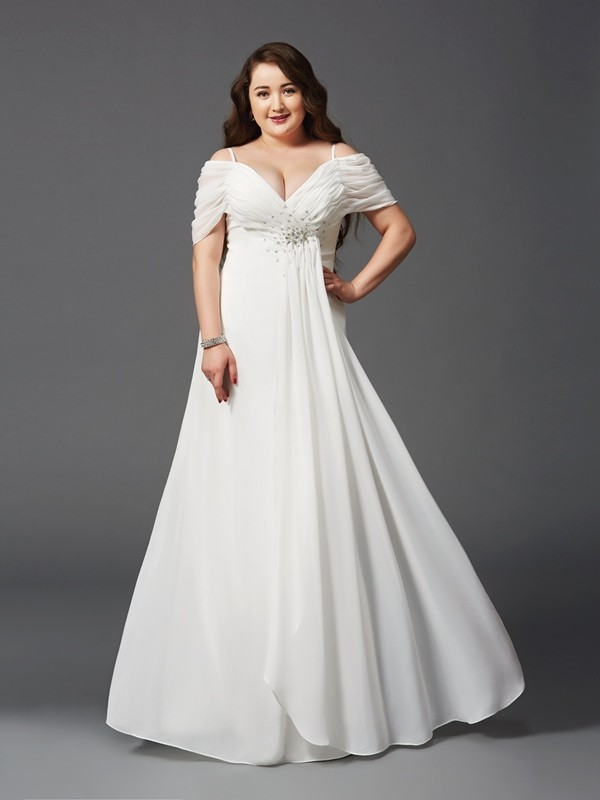 A-Line/Princess Off-the-Shoulder Ruched Short Sleeves Floor-Length Chiffon Large Size Dresses