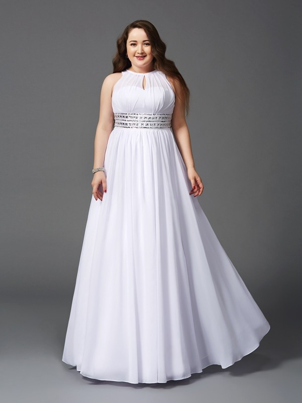 A-Line/Princess Jewel Beading Sleeveless Floor-Length Chiffon Large Size Dresses