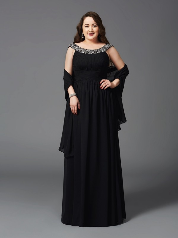 A-Line/Princess Scoop Rhinestone Sleeveless Floor-Length Chiffon Large Size Dresses
