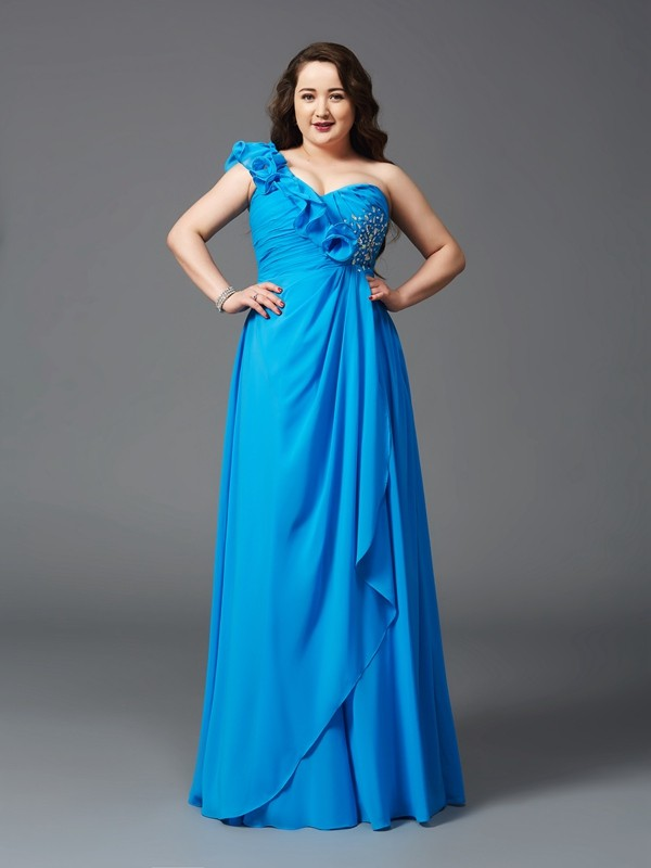 A-Line/Princess One-Shoulder Sleeveless Rhinestone Floor-Length Chiffon Large Size Dresses