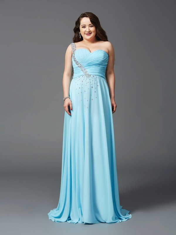 A-Line/Princess One-Shoulder Rhinestone Sweep/Brush Train Sleeveless Chiffon Large Size Dresses