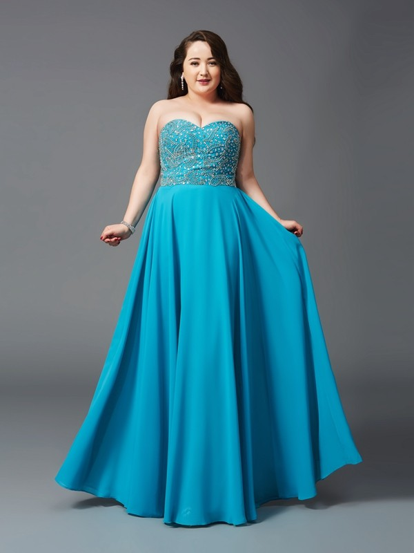 Princess Sweetheart Beading Floor-Length Sleeveless Chiffon Plus Size Dresses