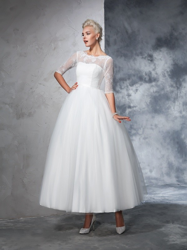 Ball Gown 1/2 Sleeves Bateau Net Ankle-Length Lace Bridal Wedding Dresses