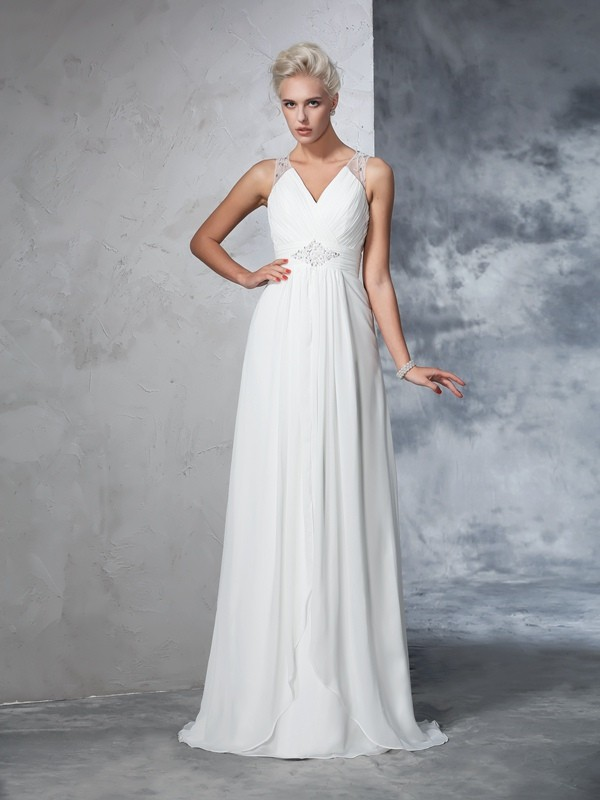 A-Line/Princess Sleeveless V-neck Chiffon Ruched Sweep/Brush Train Bridal Wedding Dresses