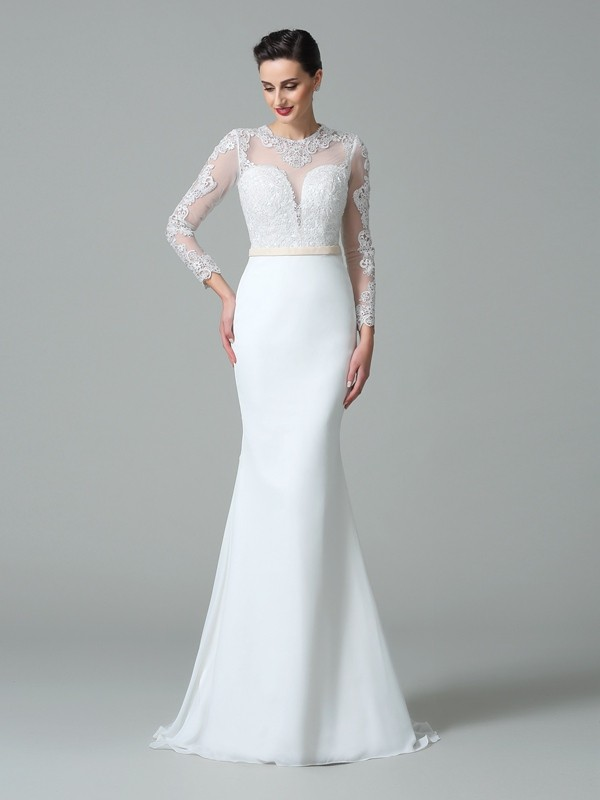 Trumpet/Mermaid Jewel Long Sleeves Sweep/Brush Train Lace Satin Wedding Dresses