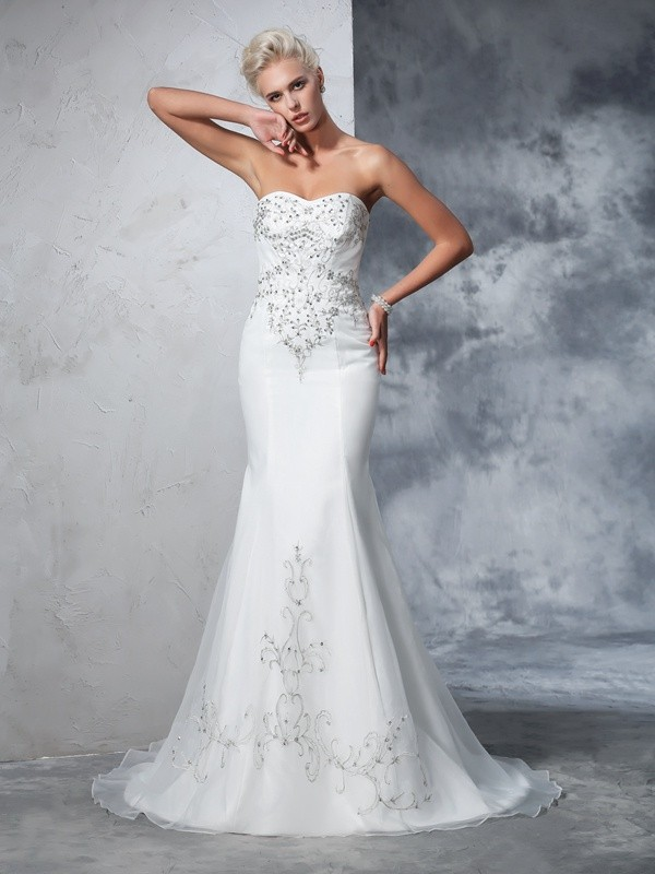 Trumpet/Mermaid Sleeveless Sweetheart Satin Beading Court Train Bridal Wedding Dresses
