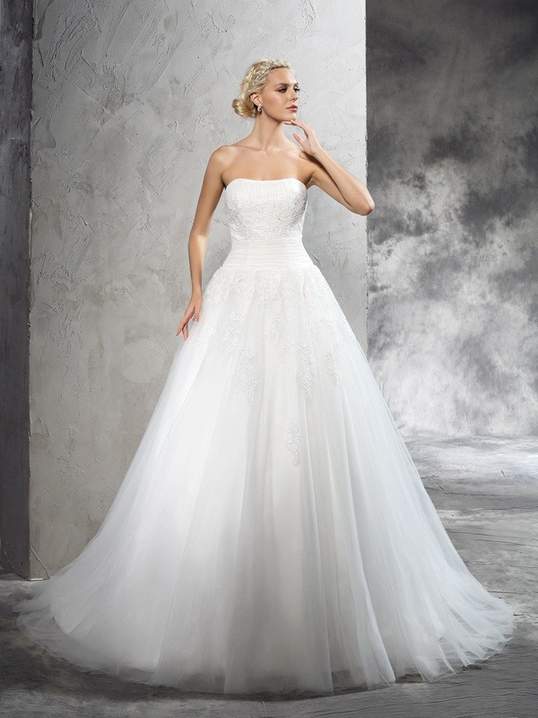 Ball Gown Strapless Sleeveless Court Train Satin Wedding Dresses