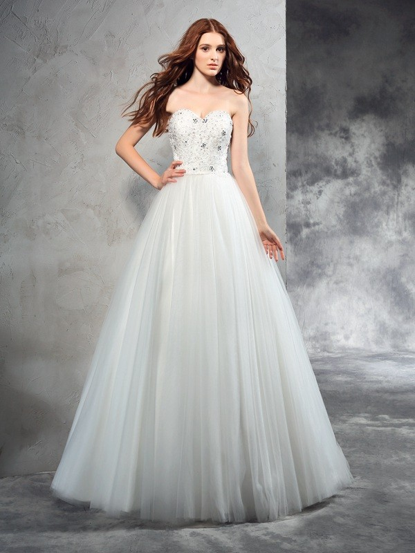 Princess Sweetheart Sleeveless Beading Floor-Length Net Wedding Dresses