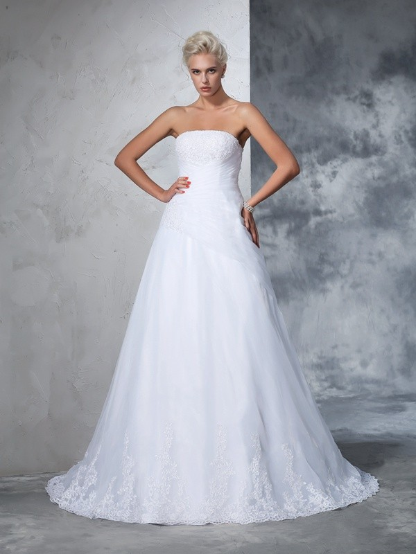 Ball Gown Strapless Sleeveless Net Applique Court Train Bridal Wedding Dresses