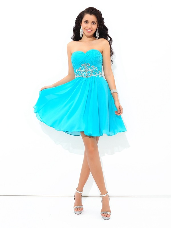 A-Line/Princess Sweetheart Pleats Sleeveless Short/Mini Chiffon Cocktail Dress