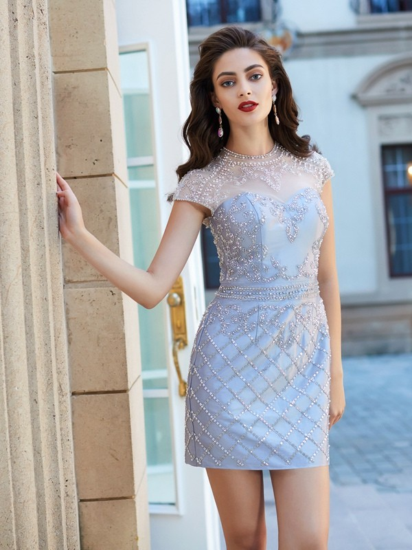 Sheath/Column Jewel Short Sleeves Beading Satin Short/Mini Dresses