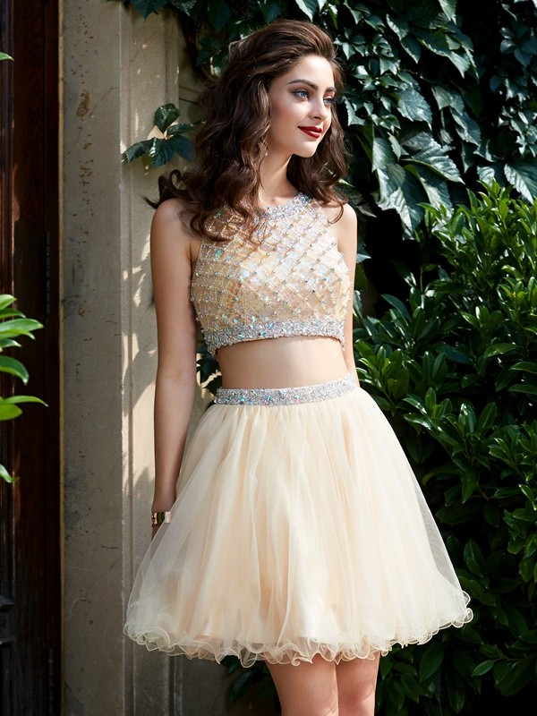 A-Line/Princess Scoop Net Sleeveless Beading Short/Mini Two Piece Homecoming Dresses