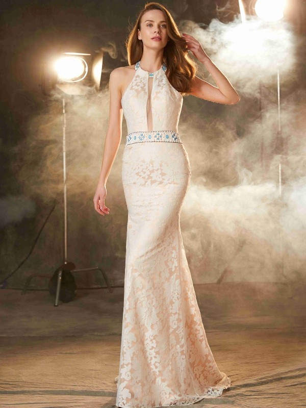 Sheath/Column Halter Sleeveless Lace Floor-Length Satin Dresses